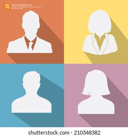 Set of Silhouette  vector men and women with business  avatar profile pictures with shadow on color vintage background