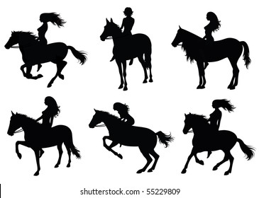 Set of a silhouette of a woman riding a horse