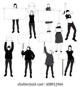 Set of silhouette of women protesting for human rights.  Black profile of slim woman body isolated on white background.