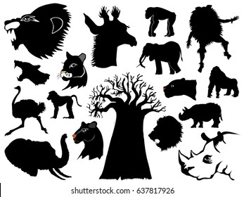set of silhouettes of African animals