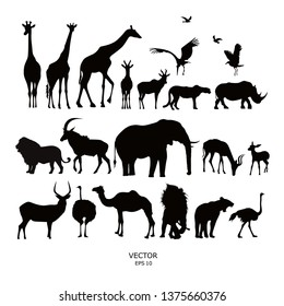 Set of silhouettes of African animals. Vector illustration