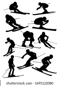 set of silhouettes of Alpine skiers vector illustration