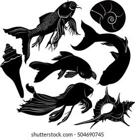 set of silhouettes of aquarium goldfish and shells