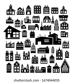 Set of silhouettes Architecture vector illustration city for business concept buildings houses urban infrastructure