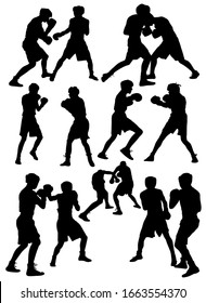 set of silhouettes of athletes boxers during a fight vector illustration