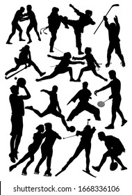 set of silhouettes of athletes from different sports vector illustration