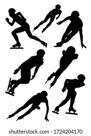set of silhouettes of athletes short track speed skating vector illustration