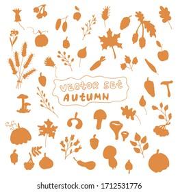 set of silhouettes of autumn forest season.autumn set doodles silhouettes on white background