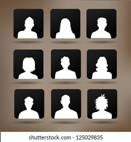 Set of silhouettes of avatar ,vector