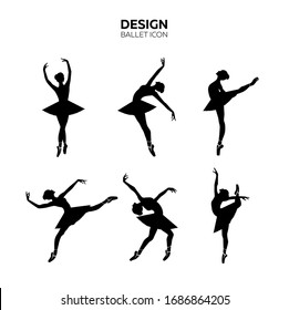 Set of silhouettes of ballerinas in dances, movements, positions. Logotype design for studio, icons for dance school, fitness, isolated on white background. Vector illustration