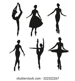 Set of silhouettes ballerina-vector illustration.