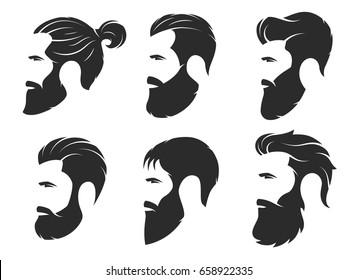 Set of silhouettes of a bearded men, hipster style. Barber shop emblems. Fashion badges labels. Vector illustration.