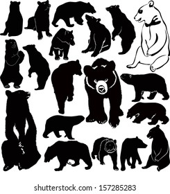 set of silhouettes of bears isolated on white background