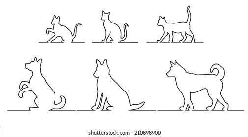 Set of silhouettes, black outline of dogs and cats in different poses, going, sitting and playing on the horizontal line