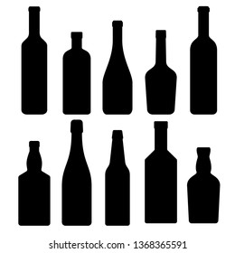 set of silhouettes of bottles of alcoholic beverages, vector illustration. collection of icons.