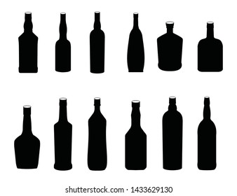 set of silhouettes of bottles of alcoholic. set of black glossy wine bottles with highlight
