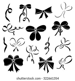 Set of silhouettes of bows and satin ribbons. Black. Isolated on white background. Design element for invitation, gift, greeting card, website, packaging, etc. Vector illustration.