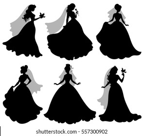 Set of silhouettes of brides with birds.