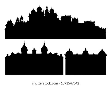 set of silhouettes of buildings with towers domes and spires vector illustration