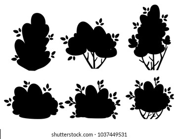 Set of silhouettes bush and garden trees for park cottage and yard vector illustration isolated on white background website page and mobile app design