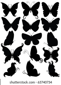 Set of silhouettes of a butterflies.