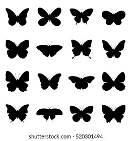 Set of silhouettes of butterflies, vector illustration