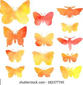 set of silhouettes of butterflies in watercolor, hand drawn vector illustration