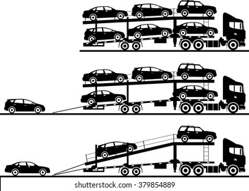 Set of silhouettes car auto transporters isolated on white background in flat style in different positions. Vector illustration.