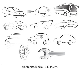 A set of silhouettes of car and bus on a white background