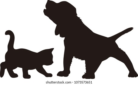 Set of silhouettes of the cat and the dog vector illustrations - Isolated on white background