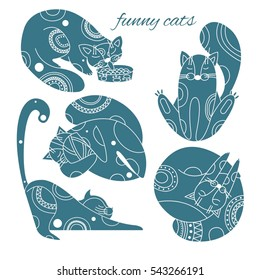 set of silhouettes of cats