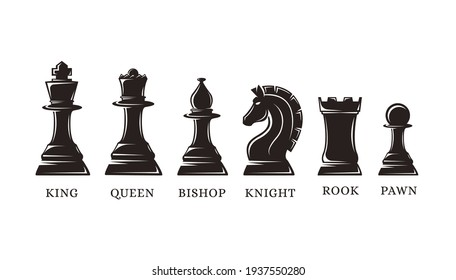 Set of silhouettes chess piece vector icons on white background