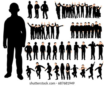 set of silhouettes of children playing