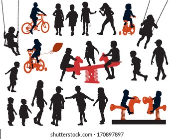 A set of silhouettes, children playing in a playground.