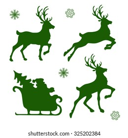 set of silhouettes of Christmas reindeer and Santa. vector illustration