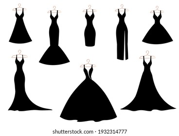 A set of silhouettes of classic, wedding and cocktail dresses on a hanger in black on white. Isolated set for advertising, flyer, card.