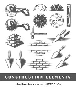 Set of silhouettes of a construction elements, isolated on a white background. Vector illustration