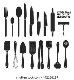 Set of silhouettes cutlery. Spoon, fork, blender, knives. Cutlery for cooking. A set of cutlery for serving. Black and white kitchen cutlery silhouettes. Vector.