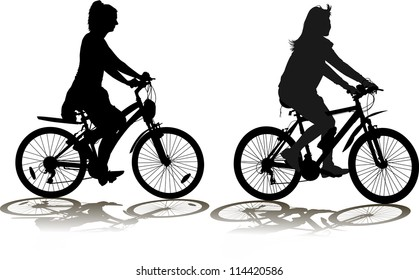 Set of Silhouettes of the cyclist