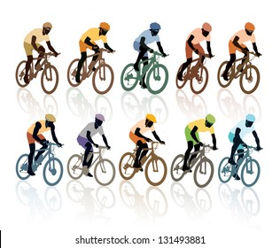 Set of silhouettes, cyclists in the bicycle race. Sport illustration.