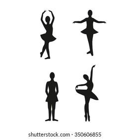 Set of silhouettes of dancers girls, children's ballet studio.