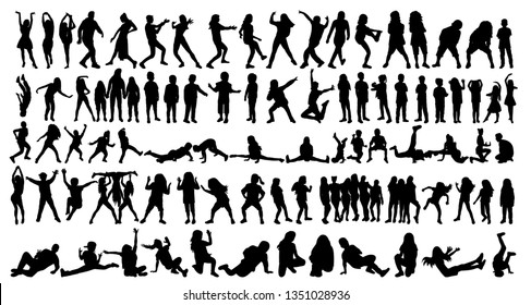 set of silhouettes of dancing children and people