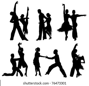Set of silhouettes of a dancing couple.
