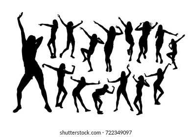 Set Silhouettes of dancing girls. Vector