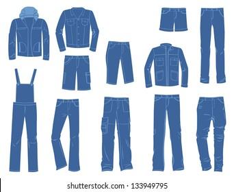 A set of silhouettes of denim menswear