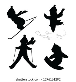 Set of silhouettes depicting people involved in winter sports