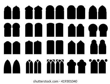 A set of silhouettes of different classical and modern windows and doors of different shapes in vector graphics