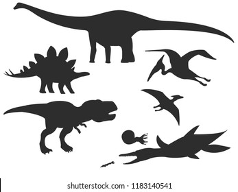 Set of silhouettes of different dinosaurs