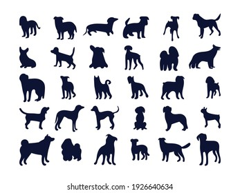 Set of silhouettes of different dog breeds. Black and white vector illustration