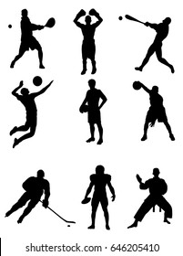 A set of silhouettes of different sports. Vector illustration.